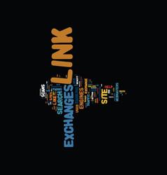 Link exchanges text background word cloud concept vector