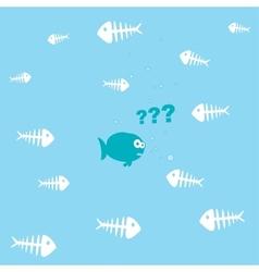 cartoon fish and a lot of fishbones vector image