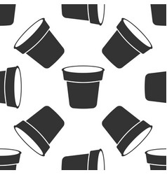 flower pot seamless pattern on white background vector image