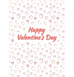 Happy Valentines Day card with pink heards vector image vector image