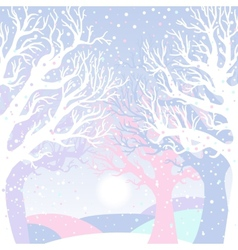 New year card with winter forest vector image vector image