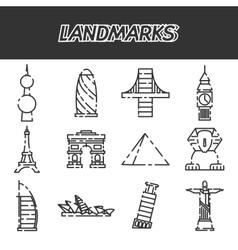 World landmarks icons set vector image