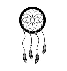 contour beauty dream catcher with feathers design vector image vector image