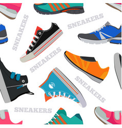 seamless pattern with sneakers and walking shoes vector image