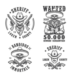 Set of sheriff and bandit emblems vector image
