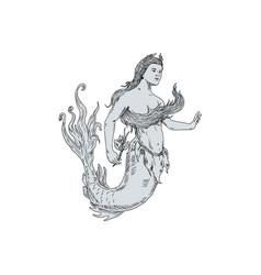 Vintage mermaid holding flower drawing vector