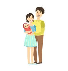 young parents with newborn kid in arms vector image vector image