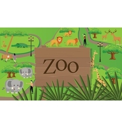 Zoo animals map sign board wood nature vector