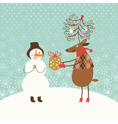 Christmas card with cute snowman and deer vector image vector image