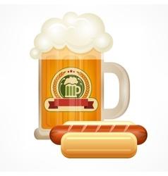 Glass mug of beer sausage vector image vector image