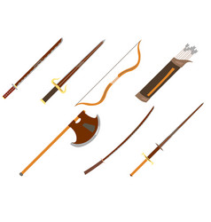 set of weapan icon vector image vector image