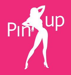 silhouette of pin-up sexy girl on pink background vector image
