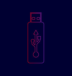 usb flash drive sign line icon vector image