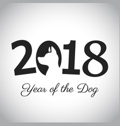2018 new year card with dog vector
