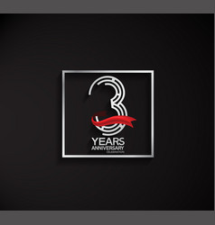 3 years anniversary logotype with square silver vector