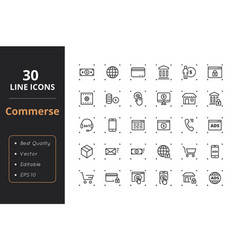 30 commerce line icons vector image