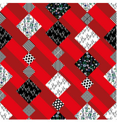 abstract pattern seamless patchwork red background vector image