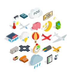 aeroplane icons set isometric style vector image