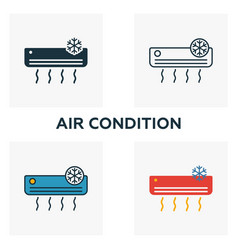 air condition icon set four elements in diferent vector image