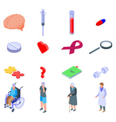 Alzheimers disease icons set isometric style vector