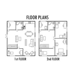 Architecture plan with furniture house first and vector