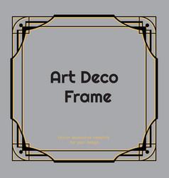 Art deco square border or frame on grey background vector