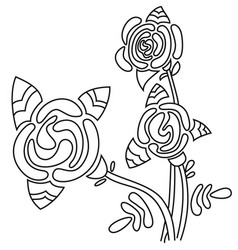 art rose flower in black and white color vector image