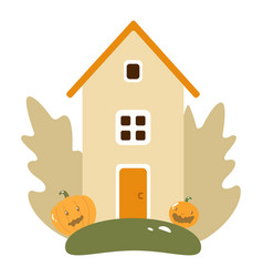 Autumn landscape with wooden house pumpkins vector