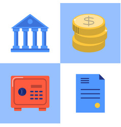 banking and money icon set in flat style vector image