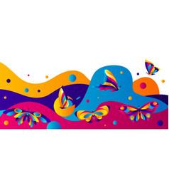 banner design with butterflies vector image