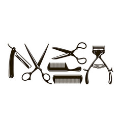 Barbershop items such as scissors comb razor vector