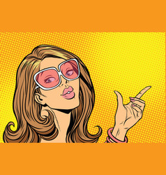 beautiful woman in sunglasses hold hand gesture vector image