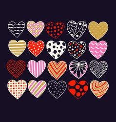 big set of hand drawn hearts valentine vector image