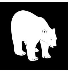 Black and white polar bear vector