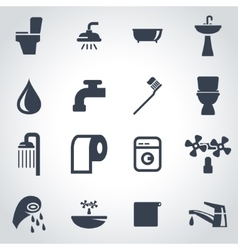 Black bathroom icon set vector