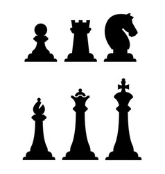 Black chess figures silhouettes isolated on white vector
