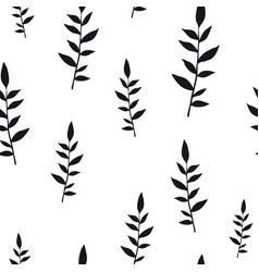 Black on white hand drawn leaves vector