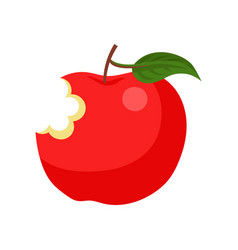 Bright red bitten apple with green leaf ripe and vector