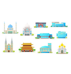 Building icons library church temple mosque vector