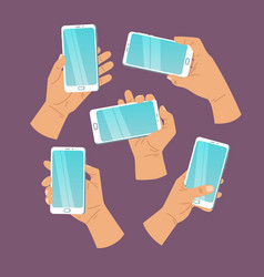 cartoon hand and mobile phone vector image