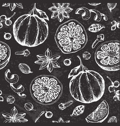 Chalk drawing seamless pattern with fruit and vector