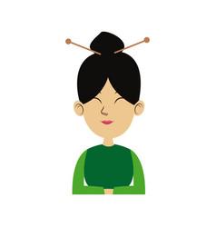character woman cartoon japanese oriental clothing vector image