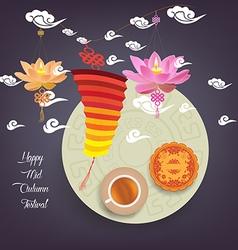 Chinese lotus lantern festival Mid autumn full vector