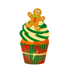 christmas and new year cupcake with gingerbread vector image