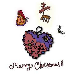 christmas card with santa claus drawing new vector image
