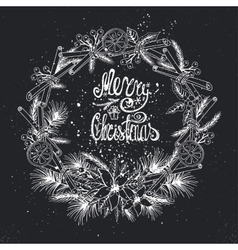 Christmas greeting card with citrusspiceChalk vector image