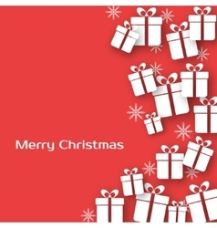 Christmas greeting card with gift boxes vector image