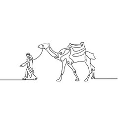 Continuous line drawing man leads a camel vector