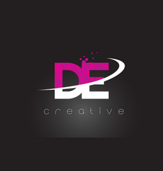 De d e creative letters design with white pink vector