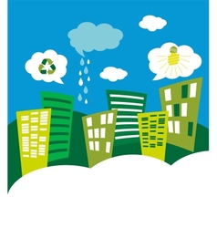 Eco green city skyline vector
